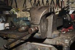 Old metallic lathe Stock Photo
