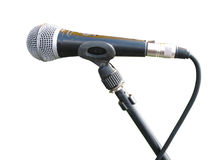 Old metallic microphone isolated. Over white background Royalty Free Stock Photo