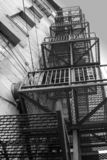 Old metallic stair. In black and white Stock Image