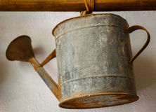 Old metallic watering can Royalty Free Stock Images
