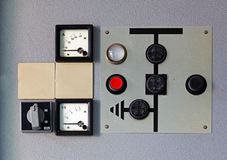 Old meter on the control panel Stock Image