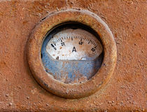 Old meter on rusty iron surface Stock Photo