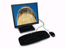Old method protecting new technology. PC work station - medieval tower - metaphor of fire-walled PC - desktop image is from my personal portfolio: id 1530594 Stock Photo
