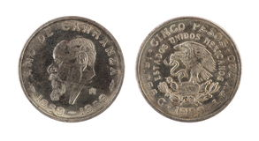 Old mexican coin (1859-1959 year) Royalty Free Stock Image