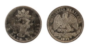 Old mexican coin. (1872 year). Old Mexican coin on the white background.  (1872 year Stock Image