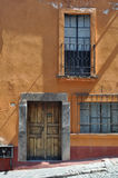 Old mexican house, Colonial style door and window. In San Miguel de Allende Mexico Stock Photo