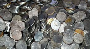 Old mexican peso coins made of steel Stock Photo