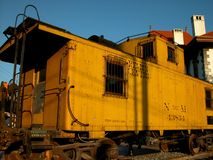 Old Mexican train car. This is an old yellow retired Mexican train car at the Monterrey, Nuevo Leon central staion which is now an art museum stock photography