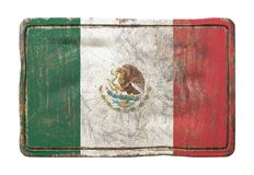 Old Mexico flag. 3d rendering of a Mexico flag over a rusty metallic plate. Isolated on white background Stock Photography