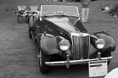 Old iconic mg tf british sports car b&w Stock Images