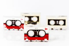 Old micro audio tapes isolated on white background Stock Photos
