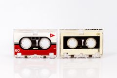 Old micro audio tapes isolated on white background Royalty Free Stock Photo