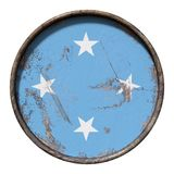 Old Micronesia flag. 3d rendering of a Micronesia flag over a rusty metallic plate. Isolated on white background Stock Images
