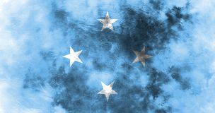 Old Micronesia grunge background flag.  Stock Image