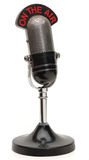 Old microphone. Old broadcast microphone on white background Royalty Free Stock Image