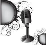 Old microphone. With abstract decoration for your text Royalty Free Stock Photos