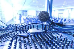 Old microphone. Old microphone in control room. Cool Tone stock photos