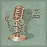 Old microphone made in grunge style. Vector illustration old microphone made in grunge style Stock Photo