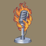 Old microphone made in grunge style. Vector illustration old microphone in flames, flaming microphone Royalty Free Stock Image