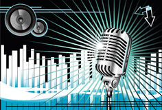 Old Microphone Music Background Stock Image