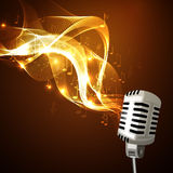 Old microphone and musical notes Royalty Free Stock Photos