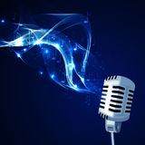Old microphone and musical notes Royalty Free Stock Image
