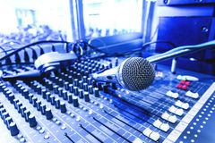 Old microphone. Old microphone in control room. Cool Tone royalty free stock photos