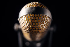 Old microphone. An old pro studio microphone, close up photo Stock Photo