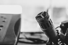 Old microphone in the Studio. Old microphone stands in the old Studio Royalty Free Stock Image