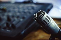 Old microphone in the Studio. Old microphone stands in the old Studio Royalty Free Stock Photography
