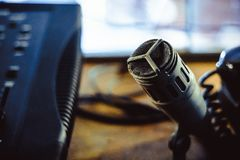Old microphone in the Studio. Old microphone stands in the old Studio Royalty Free Stock Photos