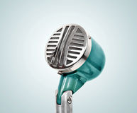 Old microphone. Vintage effect. Extra close up Stock Photography