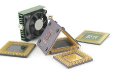Old microprocessors with fan Stock Photo