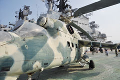 Old Mig helicoptor on aircraft carrier Royalty Free Stock Image