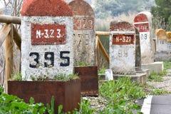 Free Old Milestones Exposed On The Bailen-Motril Road N-323 As It Passes Through La Cerradura De Pegalajar Royalty Free Stock Images - 172520099
