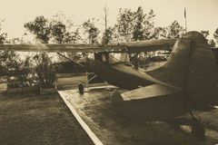 Old military air-plane in BW. Old military air-plane in retro style Stock Image