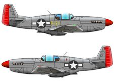 Old military aircraft fighter on white background. Vector illustration Stock Photos