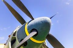 Old military aircraft propeller closeup. Stock Photo