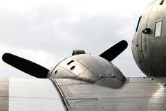 Old Military airplane detail. Close up detail. Antique American military WWII D-Day airplane at outdoor exhibition. Douglas DC-3 / C-47 Skytrain Placid Lassie royalty free stock photography
