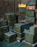 Old military ammunition boxes Royalty Free Stock Image