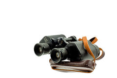 Old military black binoculars Stock Photo