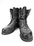 Old military boots. Old, destroyed and dusty military boots Royalty Free Stock Photos