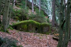Old military bunker with moss stock images
