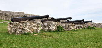 Old military cannon at the castle Royalty Free Stock Image