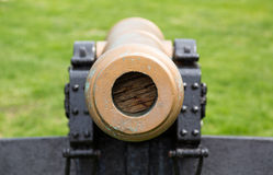 Old Military Cannon Pointing Straight At Viewer Stock Photo