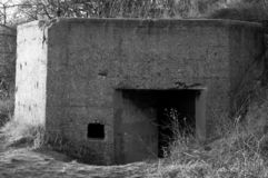 Old military concrete bunker. stock photo