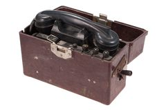 Old military field phone Royalty Free Stock Images