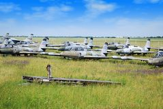 Old military fighter jet airplanes Stock Image