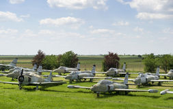 Old military fighter jets. In the field Stock Photography