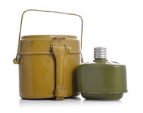 Old military flasks Stock Photos